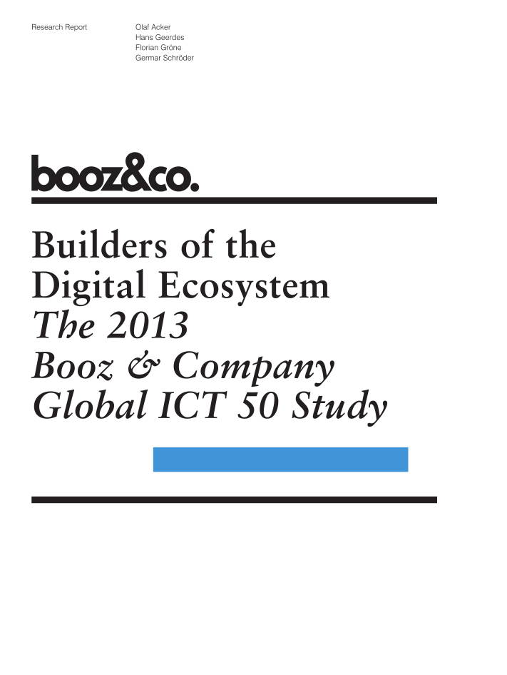 Builders of the Digital Ecosystem Report Booz Sept 2013