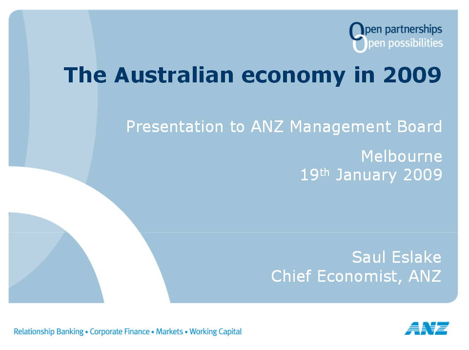 Economic Overview Saul Eslake Jan 2009